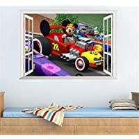 Suwhao DIY Cartoon Mouse Car Wall Stickers for Kids Room Bedroom Nursery Room Decor Waterproof Decal PVC Self Adhesive Wallpaper Poster 50X70Cm