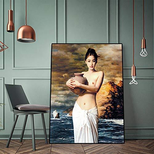 Abstraktes nacktes Mädchen mit Töpferölgemälde auf Leinwandplakat und Druckwandkunstbild für Wohnzimmer (kein Rahmen) A3 20x30CM
