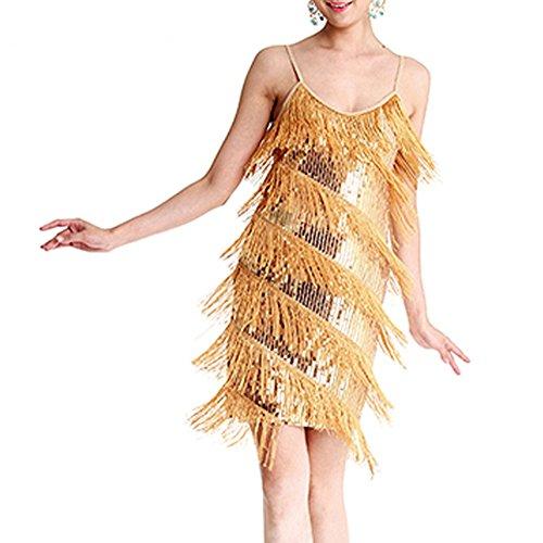 Etopfashion Damen Weinlese Art 1920er Sequin Flapper Troddel Cocktail Party Lateinisches Kleid (1920 Dance Kostüme)