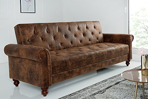 Riess Ambiente Design Sofa Maison Belle Affaire 220cm Antik Braun Schlaffunktion Chesterfield Couch Schlafcouch Schlafsofa