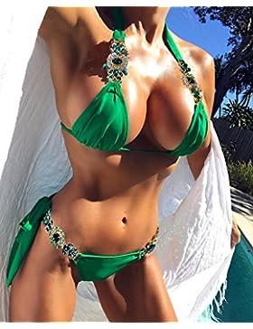 Moderno y cómodo bikini _ green insertar la broca moderno y cómodo bikini bañador, dividir la imagen color serie L