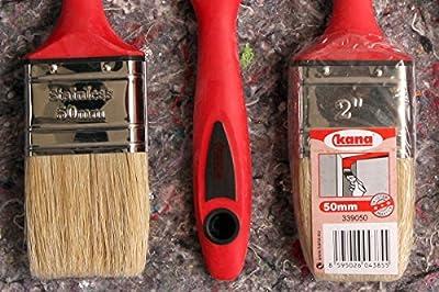 18 teiliges Pinsel Set: 6 Flachpinsel 2K-Griff 50mm + 6 Ringpinsel Gr. 4 + 6 Plattpinsel 25mm für gute Lackierarbeiten bei kleineren Flächen wie Fenster, Holzgitter oder Türstöcke etc.