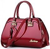 NUCLERL Bogen Frauen Handtasche Schultertasche Handtasche Designer Taschen Für Frauen Satchel Bag Top Griff Mit Bogen Form (Weinrot)