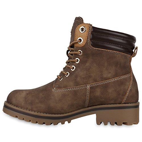 Warm Gefütterte Damen Outdoor Stiefeletten Worker Boots Braun