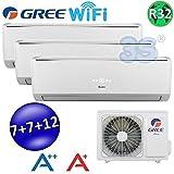 Climatizzatore inverter trial split LOMO Wi-Fi 7000 + 7000 + 12000 Btu GREE R32 classe A++/A+