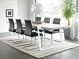 CANETT FURNITURE Gigant Luxsus Skandinavisch Esstisch Designer Tisch, Ansteckplatten vorberetiet, Eiche massiv, Holz, Eiche Bianco, weiß Geölt, 240 x 100 x 74 cm