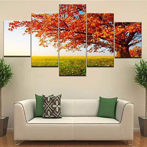 Hd Print Die Bäume Im Herbst Herbst Gras Landschaft Wand Poster Leinwand Kunst Malerei Für Zuhause Wohnzimmer Dekoration-30X40/60/80Cm,With Frame ()