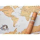 Noza Tec Scratch Map Carte du Monde à Gratter Taille XXL 82 x 60 cm Edition Jaune