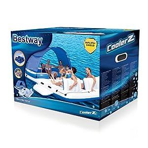 Bestway 43105 - Isla hinchable flotante con capacidad para 6 adultos - Techo parcial desmontable, respaldos anchos, nevera central, y 6 portavasos