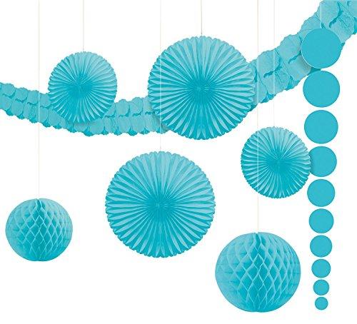 Amscan 243568-54-55 - Hängedekoration Set, 9-teilig, hellblau