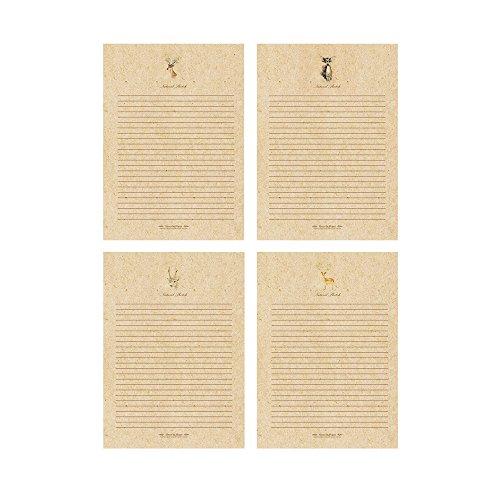 Jia HU 40Stück Retro Deer Schreiben Buchstabe Papier Stationäre Animal Buchstaben Pad Geschenk Karte Post Karte Grußkarte (Papier Drucker Stationären)
