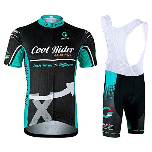 OUTCOOL Maillot Cyclisme Homme Manches Courtes Cuissard Vélo Cyclisme avec 3D Gel Rembourré Respirant Séchage rapide pour Le Tour de France (Bleu Noir, M)