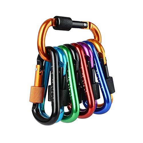 Firlar 10 Stück Karabiner Schlüsselanhänger, Aluminiumlegierung-Karabiner, gefederter D-Ring Schlüsselketten-Klipp-Haken für das kampierende wandernde reisende (nicht für das Klettern)