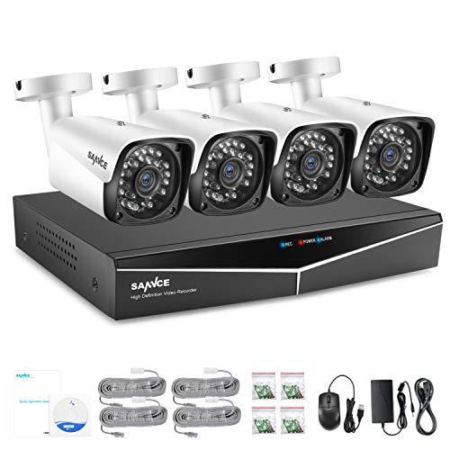 SANNCE 4 Canali Kit sorveglianza Sistema di sicurezza 1080P Kit Telecamera Videosorviglianza 4 Canali Impermeabile IP66 Sistema NVR Visione Notturna per Sicurezza della Famiglia,Senza HDD