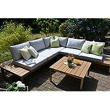 Bomey Aluminium Lounge Set I Gartenmöbel Set Orlando 2 Teilig I  Edelstahlbeschichtete Essgarnitur I Sitzgruppe
