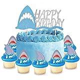 Ein Haifisch Cake Topper Tortenaufsätze Geburtstag Glitter + Haifischzähne Cupcake Toppers X 24 für Kinder Geburtstag Party Supplies