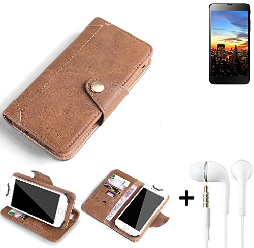 K-S-Trade® Schutzhülle für Hisense HS-U970E-8 Hülle Tasche Handyhülle Handytasche Wallet Flipcase Cover Handy Tasche Kunsteleder Braun Inkl. in Ear Headphones