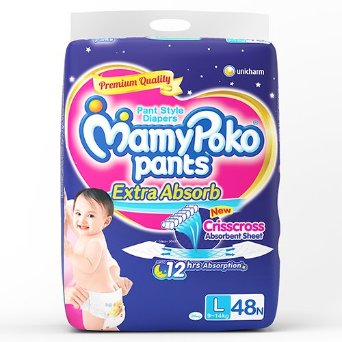 Mamy Poko Pant Style Large Size Diapers Extra absorb (48 Count)
