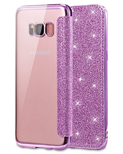 Snewill Galaxy S8 Hülle,Galaxy S8 Case, Ultra Slim PU Leather Folio Flip Case with Card Slot & Clear Soft TPU Back Cover for Samsung Galaxy S8 -Purple (Light Case Wallet Galaxy Samsung)