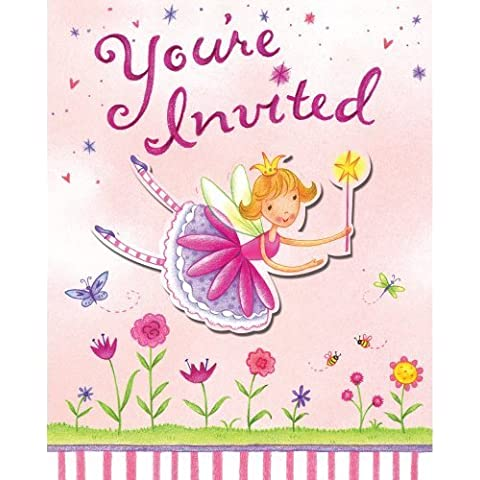 Creative Converting Garden Fairy 8 Count Enhanced Party Invitations by Creative Converting