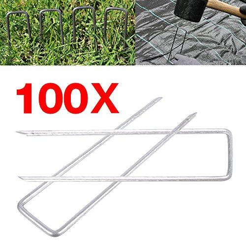 Rayinblue Agrafes de Fixation en Forme de U - en Métal Galvanisé - Idéal pour fixer le tissu de mauvaises herbes, le tissu d'aménagement paysager, les filets, les tapis de sol et la polaire