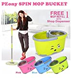 #8: PEony Magic Spin Mop Bucket Double Drive Hand Pressure With 4 Microfiber Mop Refills Household Floor Cleaning (Color May Vary) (With Soap Dispenser)