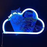 XIYUNTE Veilleuses néon Light Signes - bleu LED Nuage Lampes Lumières de néon de signe murale Décoratio,USB et batterie au néon Lampes pour Chambre à coucher, salon, mariage, cadeau de Noël (blue cloud)