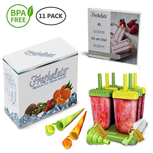 Freshelato - EIS am Stiel/Wassereisformen Set + 2 x Silikon EIS Pop Form + Trichter + Bürste + Rezeptbuch (Ebook auf Deutsch) (Grün-Gelb)