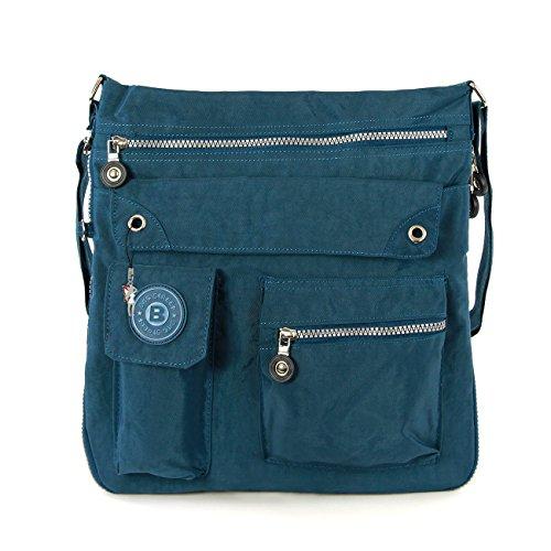 Hanf Messenger Tasche (Bag Street Tasche Damen Umhängetasche blau/ petrol Nylon-Damenhandtasche mit Fee-Anhänger OTJ206T)