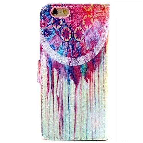 Gift_Source iPhone 6 hülle, iPhone 6S hülle, Brieftasche Ledertasche Bookstyle Schutzhülle Leder Flip case Etui for Apple iPhone 6S/6 4.7 inch [ Regenbogen ] E01-01-New Dream Catcher