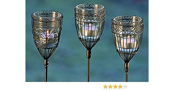 3 x Gartenstab mit Teelichthalter Windlicht Draht und Glas Teelicht Gartendeko