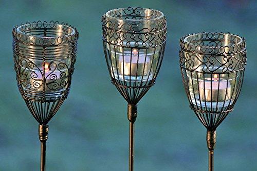 3 x Gartenstab mit Teelichthalter Windlicht aus Draht und Glas Teelicht Gartendekoration, Balkon, Terrasse (Figur Glas Trägt)