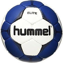 hummel Ballon de Handball pour Jeu & Training-Taille 2ou 3-SMU Elite HB-Résine Blanc avec Bleu, Vert ou Rouge-Ballon d'entraînement avec Air Valve de Trap 1 Blanc/Bleu