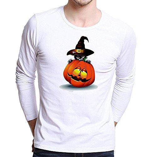 UJUNAOR Männer Halloween Top Plus Size Gedruckt Tees Shirt Langarm Frauen-Halloween Kürbis T Shirt Bluse Viele Muster XS Bis 4XL(Rot,CN 4XL)