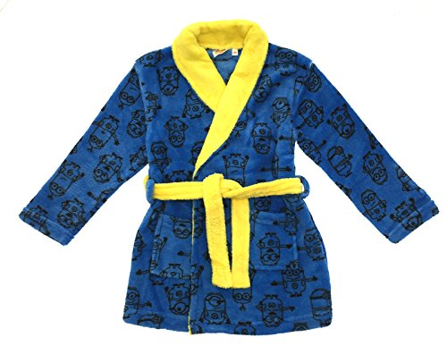 Kids Boys Despicable Me Minion Fleece Bath Robe Minions Dressing Gown Size UK 3-8 Years