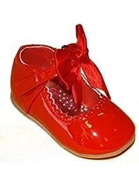 Mellow Be - Zapatos primeros pasos de piel sintética para niña, color rojo, talla 18