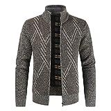Aoogo Herren Stehkragen Strickjacke Cardigan Feinstrick mit Stehkragen Und Fleece-Innenseite Reißverschluss Lang Ärmel Jacke Pullover Coat Mantel