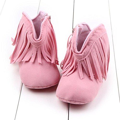 Tefamore Kleinkind Kind Neugeborenes Babymädchen Schuhe weiche Sohle Stiefel Prewalker Quaste Rosa