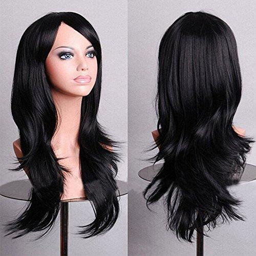 Parrucca nera lunga donna 58cm colorata fashion capelli lunghi ondulati wavy per cosplay halloween festa carnevale party vari colori