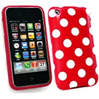 Emartbuy ® Apple Iphone 3G / 3Gs Polka Dots Gel Skin Cover / Case Red / White