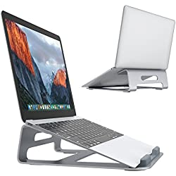 "SLYPNOS Support Ordinateur Portable Ergonomique, Support de PC Alliage d'Aluminum Lip Front en Caoutchouc Anti-dérapant pour Tablette PC de 11""-15.4""- Argent"