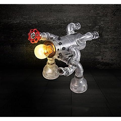 Robot lámpara American personalidad creativa Vintage rejas de hierro forjado decorativo de los accesorios de plomería de transformadores