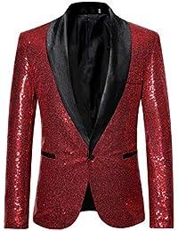 Homebaby Uomo Blazer Classic Brillantini con Paillettes Glitterati Giacca da  Abito Elegante Fiesta Maniche Lunghe Colletto 54e6263a0fb
