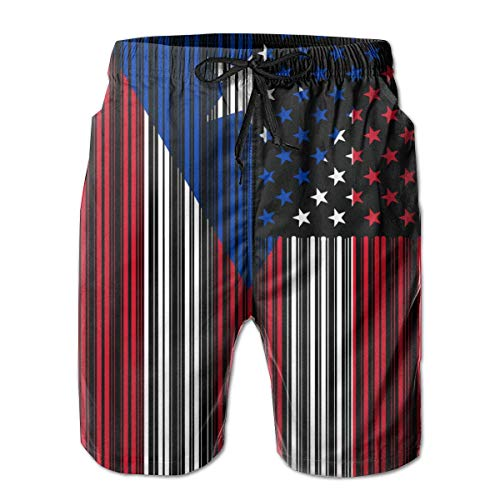 KLYDH Bar Coded USA Puerto Rico Flag Mens Beach Shorts Slim-Fit Bathing Suit,Size:Medium