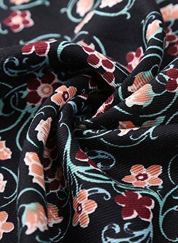 Futurino Femme Écharpes Châle Ethnique Imprimé Totem Fleuri Pompons aux Extrémités Foulard Fluide et Léger Floral Black