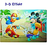 3-D Effekt __ Unterlage -  Disney - Mickey Mouse & Donald Duck - Skateboard  - 42 cm * 29 cm - abwischbar & abwaschbar - Platzdeckchen / Tischunterlage / Ma..