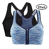 Vertvie Damen Sport BH Push up mit Reißverschluss stoßfest Laufen Yoga atmungsaktive Segment gefärbt Unterwäsche(Schwarz + Hellblau, XL fit (90C-100D))