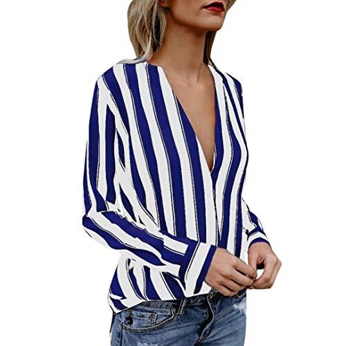 Xmiral Damen Bluse Sexy Tiefem V-Ausschnitt Langarm Gestreiften unregelmäßigen Saum T-Shirt...