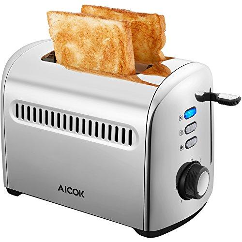 Aicok Grille Pain, Toaster 2 Fentes, Multifonction avec 7 Niveaux de Brunissage, Plateau de Miettes Amovible, Acier Inoxydable, 950W, Argent