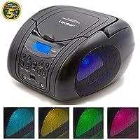 Lauson Lettore Portatile CD, USB, Radio AM/FM, MP3, SD-Card, AUX IN, (Multicolore) (Nero S)